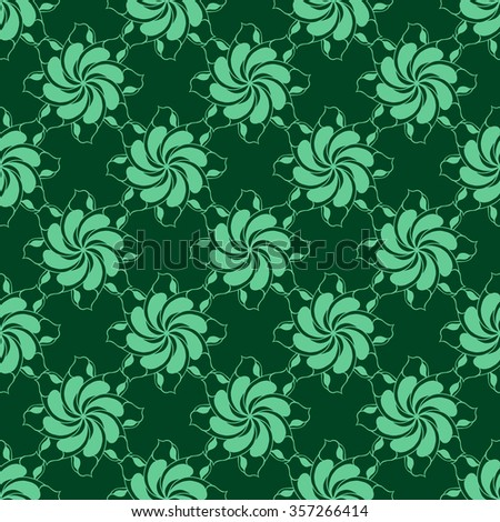 Seamless creative hand-drawn pattern of stylized flowers in jade and dark green colors. Vector illustration.