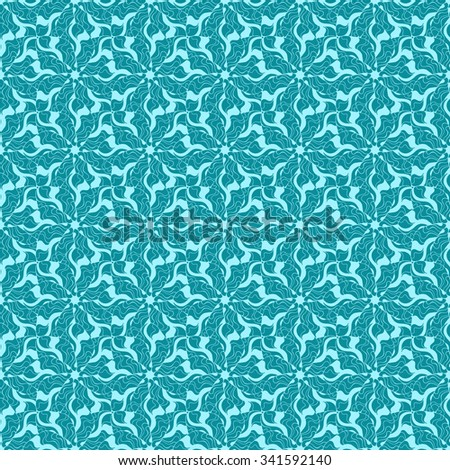 Seamless creative hand-drawn pattern of stylized flowers in light turquoise and blue-green colors. Vector illustration.
