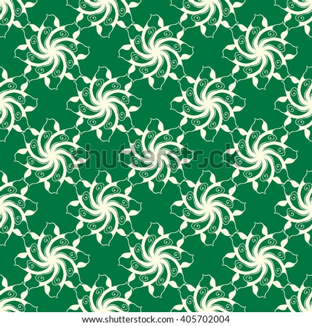 Seamless creative hand-drawn pattern of stylized flowers in light yellow and dark green colors. Vector illustration.