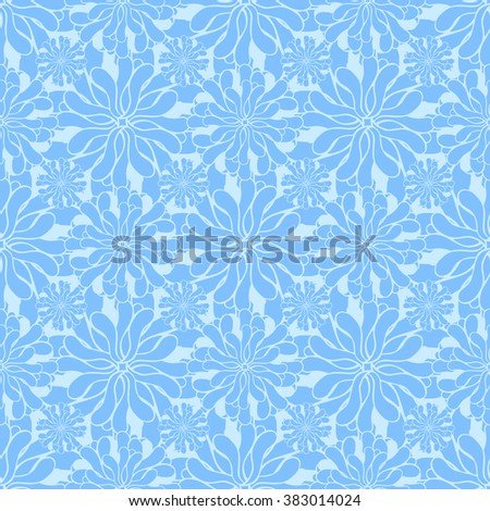 Seamless creative hand-drawn pattern of stylized flowers in pale cyan and cornflower blue colors. Vector illustration.