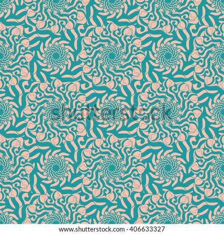 Seamless creative hand-drawn pattern of stylized flowers in pale pink and blue-green colors. Vector illustration.