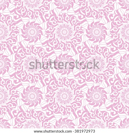 Seamless creative hand-drawn pattern of stylized flowers in white and pastel pink colors. Vector illustration.