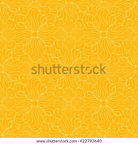 Seamless creative hand-drawn pattern of stylized flowers in yellow and orange colors. Vector illustration.