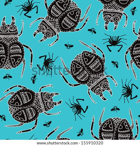 Seamless creepy decorative doodle insects and spiders illustration background pattern in vector