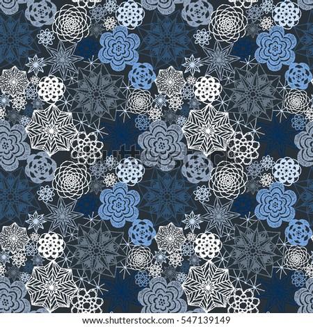Seamless Crochet Flowers Pattern Crochet Blanket Stock Vector