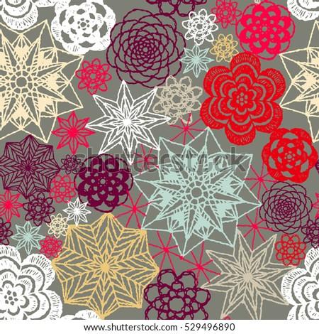 Seamless Crochet Flowers Pattern New Year Stock Vector 529496890