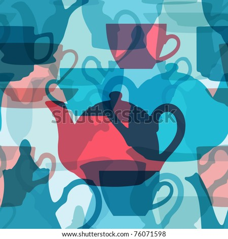 Seamless crockery background with transparency effect. Vector illustration.  Does not contain any transparent elements. - stock vector