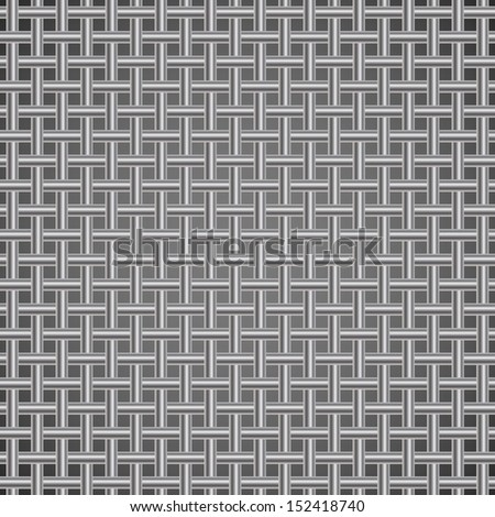 Seamless crossing rods silver grill vector background. - stock vector