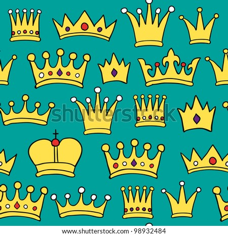 Seamless crown pattern on green background. Vector illustration