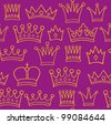 Seamless crown pattern on violet background. Vector illustration - stock vector
