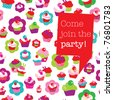 Seamless cup cake pattern background party invitation card design in vector - stock vector