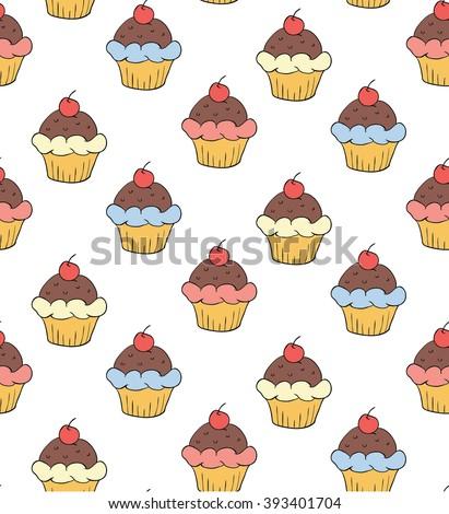 Seamless Cupcake Pattern - stock vector