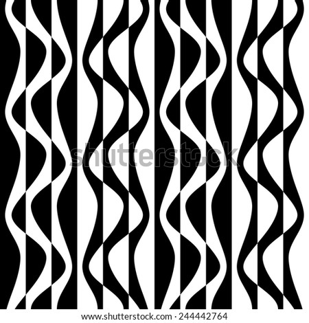 Seamless Curved Shape Pattern. Vector Monochrome Texture - stock vector