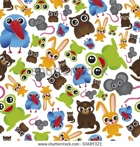 Seamless cute animal pattern in vector