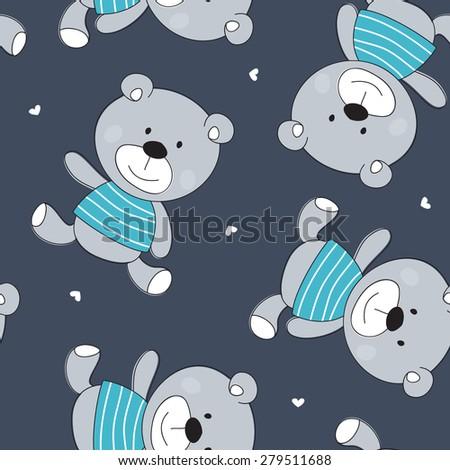 seamless cute bear pattern vector illustration - stock vector