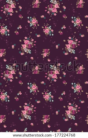 Seamless cute bright colorful ditsy flower pattern in vector - stock vector