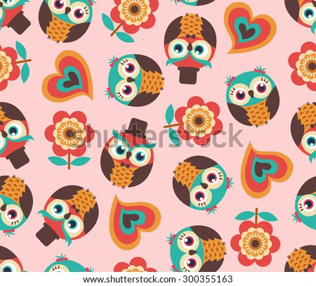Seamless cute cartoon owls wallpaper pattern stock vector seamless cute cartoon owls wallpaper pattern background voltagebd Images