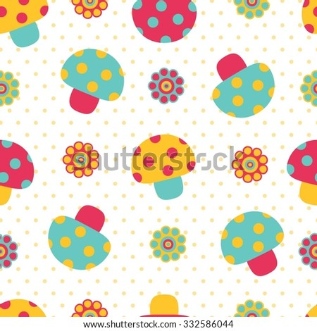 Seamless cute colorful mushroom pattern. Baby pattern. - stock vector