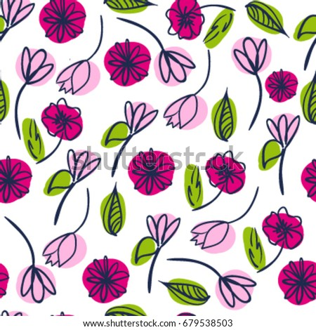 Seamless cute cute pattern flowers pattern stok vektr 679538503 seamless cute cute pattern with flowers pattern for girls wrapping paper tektile mightylinksfo