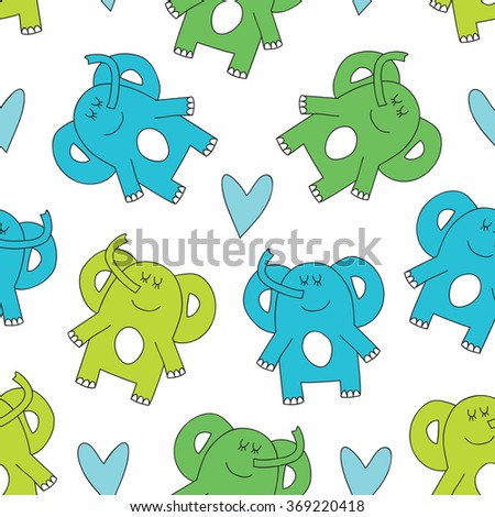 seamless cute elephant vector illustration - stock vector