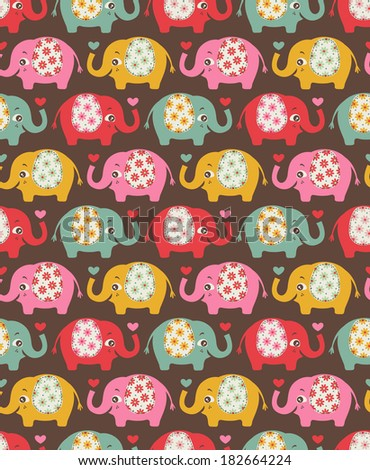 seamless cute elephants pattern - stock vector