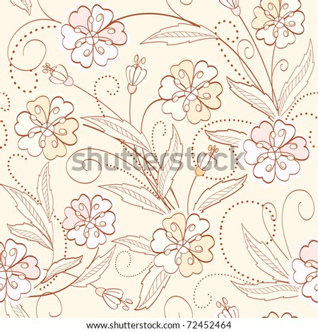 seamless cute floral  background - stock vector