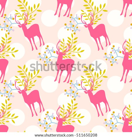 Seamless cute floral deer pattern with polka dot background