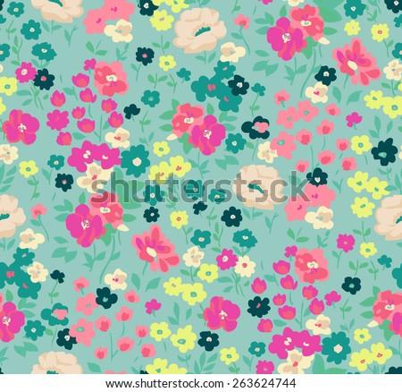 seamless cute flower vector pattern. - stock vector