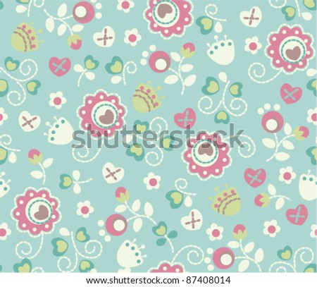 seamless cute funny flower pattern - stock vector