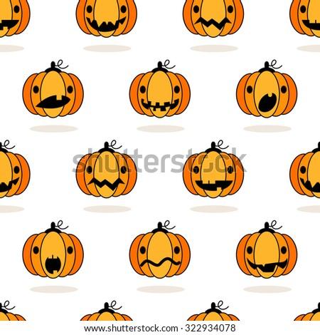 Seamless cute Halloween pumpkin pattern - stock vector