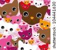 Seamless cute kitten cat background pattern in vector - stock vector