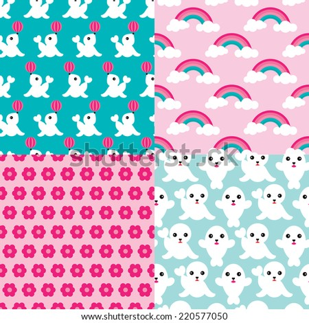 Seamless cute little baby seal flowers and rainbows illustration colorful kids background pattern in vector - stock vector