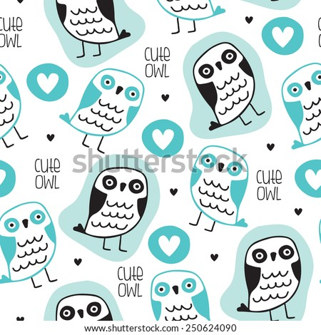 seamless cute owl pattern vector illustration - stock vector