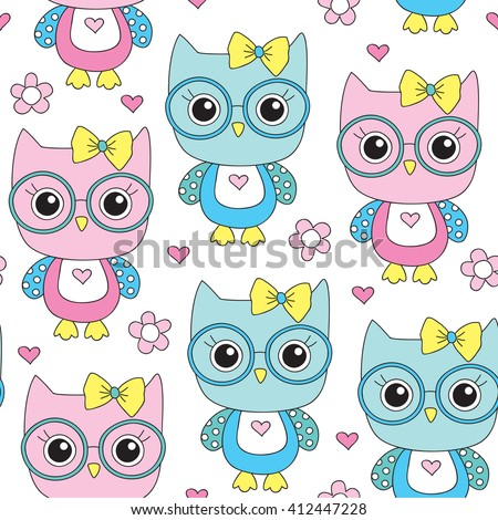 seamless cute owl with glasses pattern vector illustration - stock vector