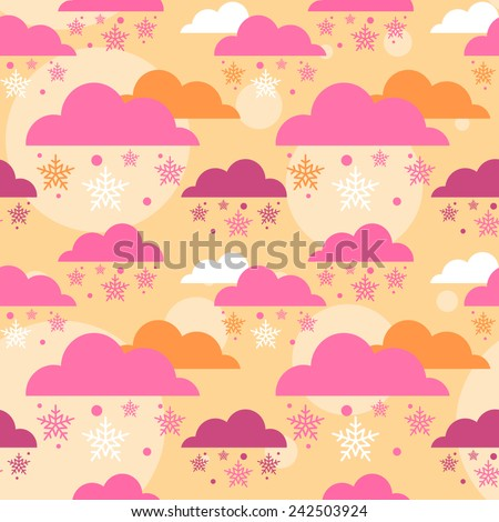 Seamless cute pattern with clouds and snowflakes