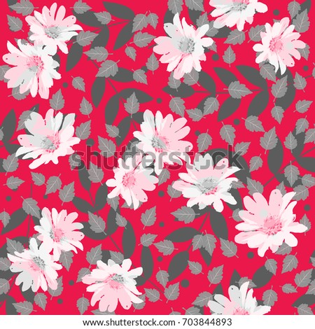 Seamless cute pattern with spring flowers. Floral background for textile or book covers, manufacturing, wallpapers, print and gift wrap.
