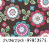 seamless cute retro flroal pattern  background - stock vector
