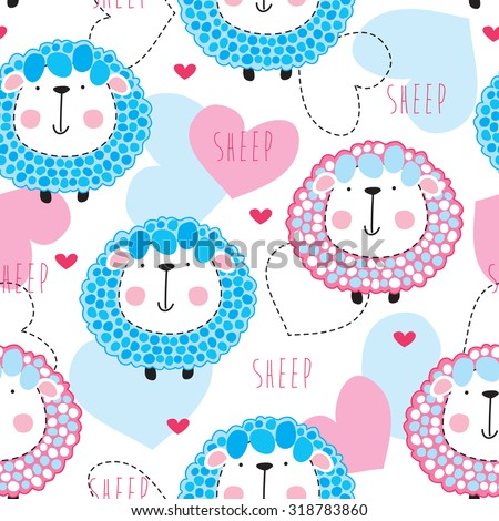 seamless cute sheep pattern vector illustration - stock vector