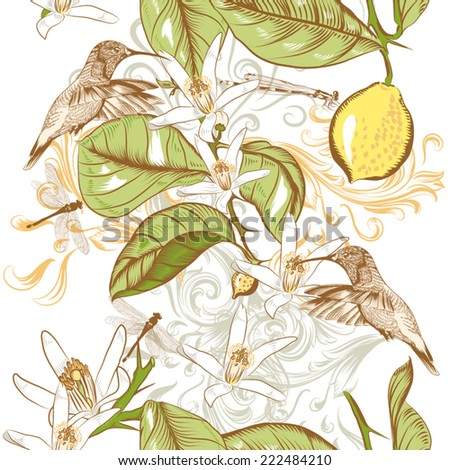 Seamless cute vector background in vintage style with hand drawn lemon flowers and hummingbird - stock vector