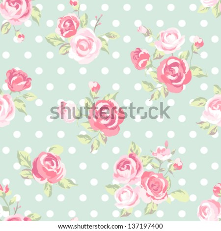 seamless cute vintage rose ,flower pattern vector background - stock vector