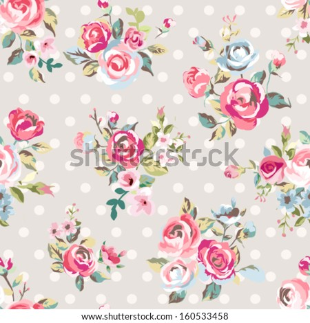 seamless cute vintage rose ,flower pattern vector on dots background - stock vector