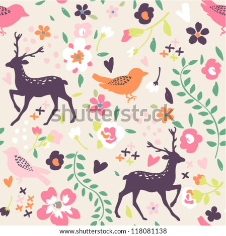 seamless cute vintage tiny flower with leaf  pattern background - stock vector