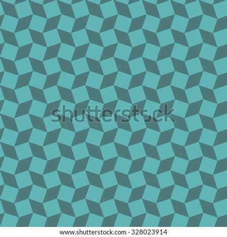 Seamless cyan op art distorted cubes pattern vector - stock vector
