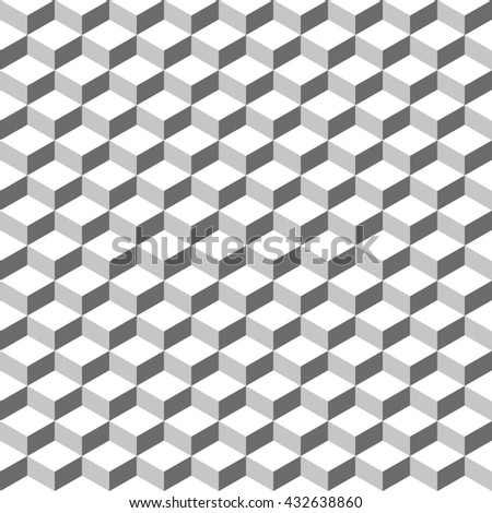 Seamless 3d cube pattern. Vintage abstract background - stock vector