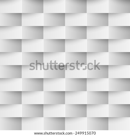 Seamless 3D textured white wall vector background. - stock vector