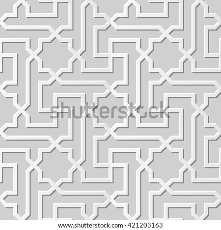 Seamless 3D white paper cut art background 442 star cross spiral geometry