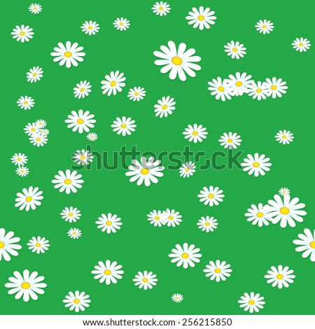 Seamless daisies background - stock vector