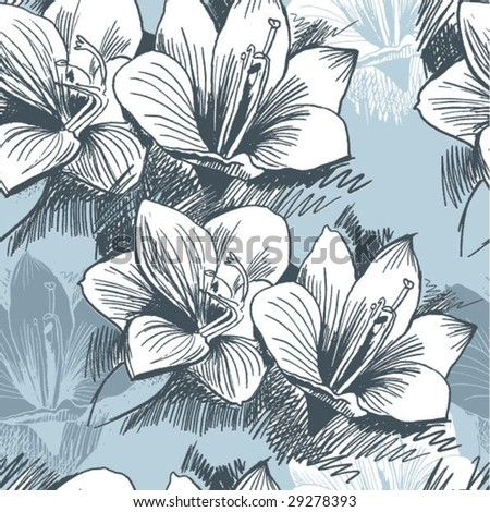 Seamless Damask floral background from lily - stock vector