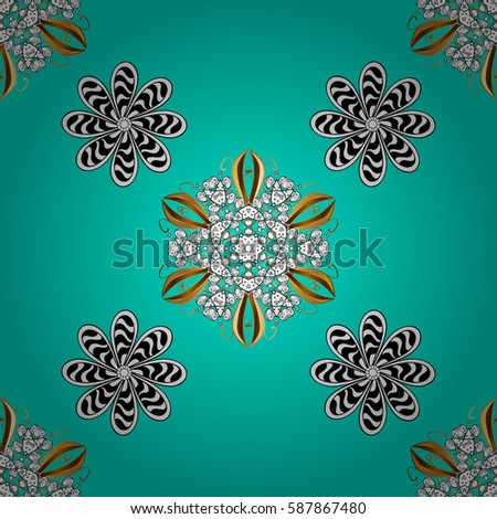 Seamless damask pattern background for wallpaper design in the style of Baroque. Golden pattern on blue background with white elements. Ornate vector decoration.