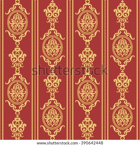 Seamless damask pattern. Gold and red texture in vintage rich royal style. Vector illustration. Can use as background for birthday card, wedding invitations, textile print, wallpaper, wrapping paper - stock vector